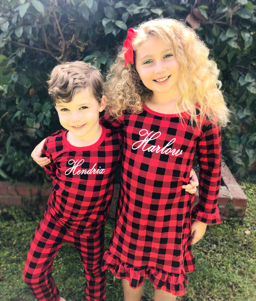 Personalized Buffalo Plaid Christmas Pajamas