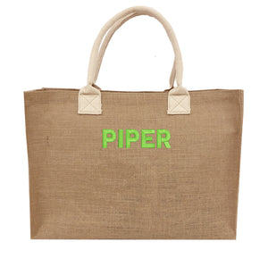 Monogrammed Burlap Beach Tote Bag with Name