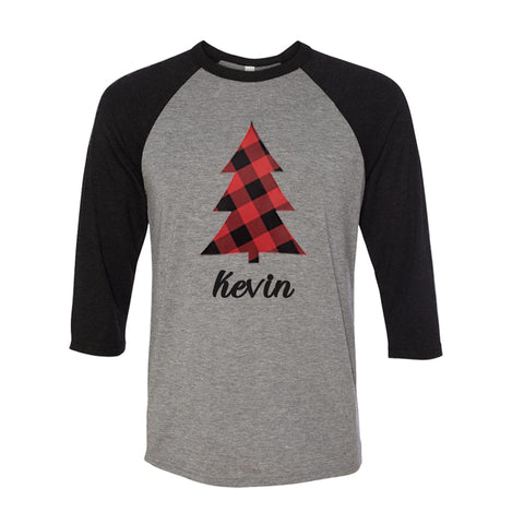 Personalized Plaid Christmas Tree Raglan - Grey/Black