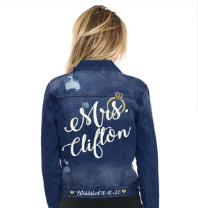 Custom Mrs. Denim Jacket with Ring and Wedding Date