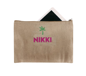Personalized Palm Tree Jute Zipper Pouch