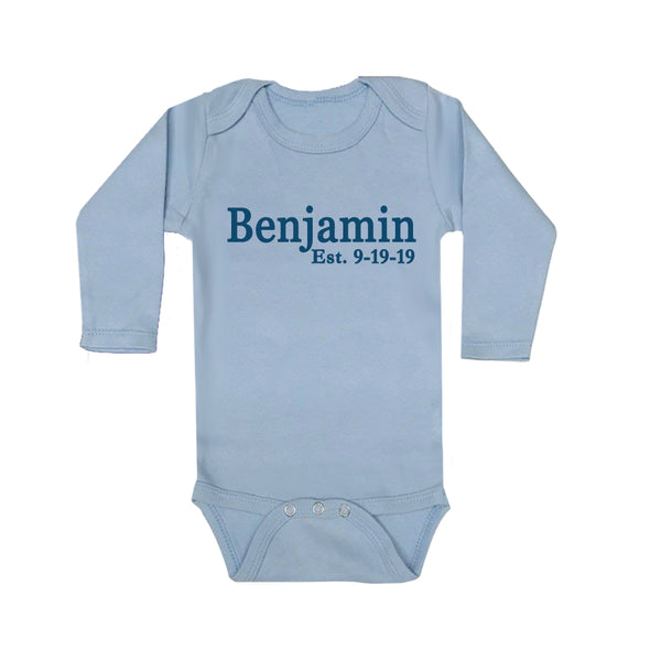 Personalized Newborn Onesie - Established