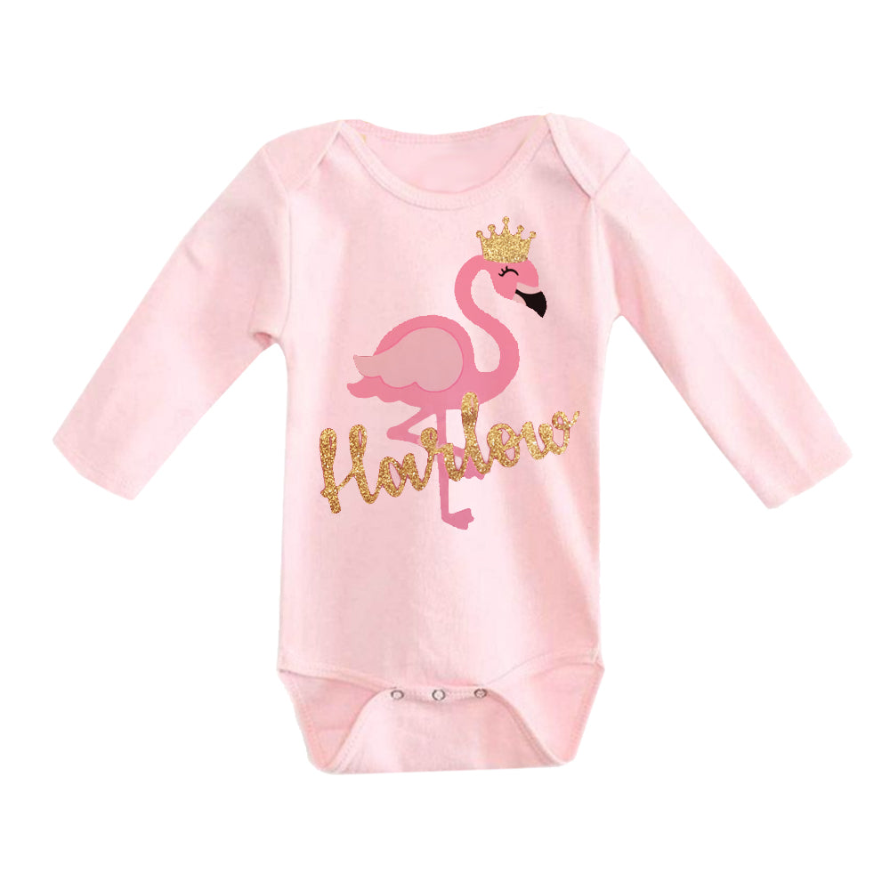 Personalized Glitter Onesie - Flamingo Kid
