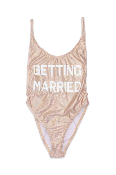 Getting Married High Cut Vintage Glitter Swimsuit