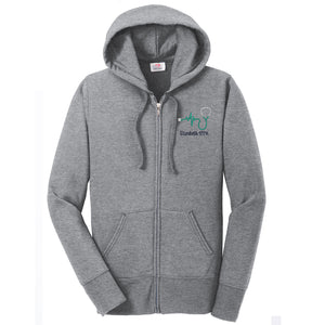 Ladies Core Fleece Full-Zip Hooded Nurse Sweatshirt