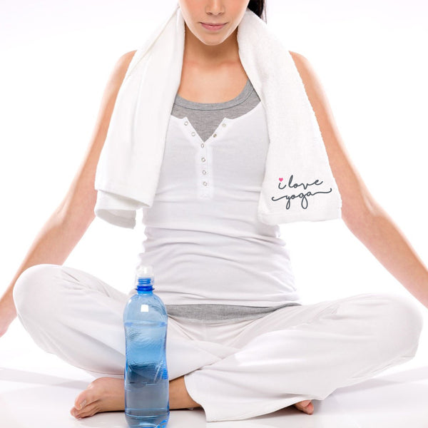 I Love Yoga Gym Towel