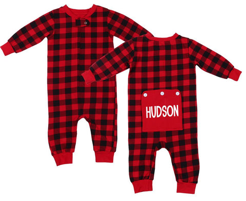 Personalized Christmas Buffalo Plaid Romper