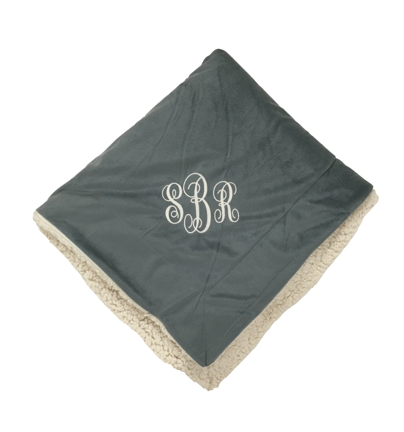 Monogrammed Micro Sherpa Throw