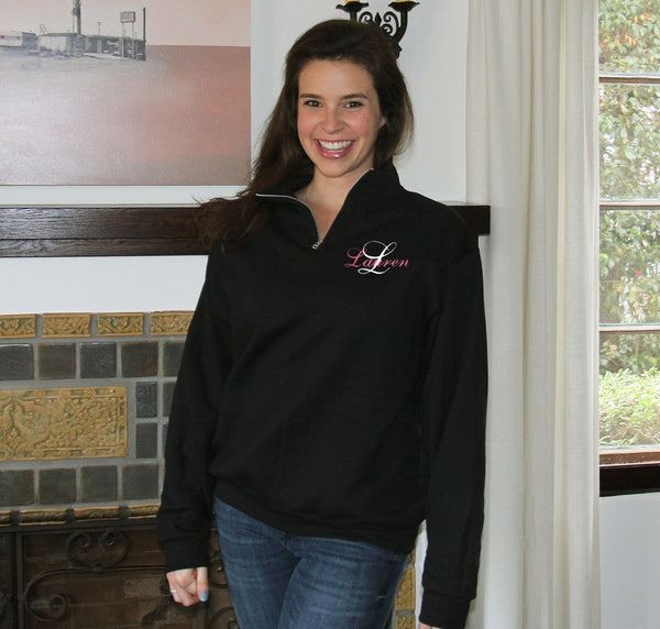 Monogrammed Quarter Zip Pullover - Name and Initial
