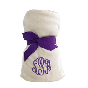 Monogrammed Tahoe Microfleece throw