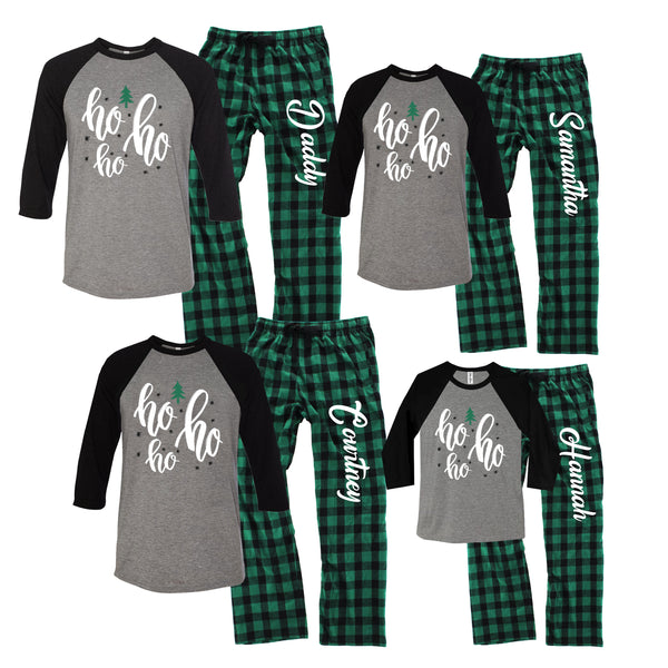 Personalized Ho Ho Ho Christmas Flannel Pajama Set - Buffalo Plaid Green and Black