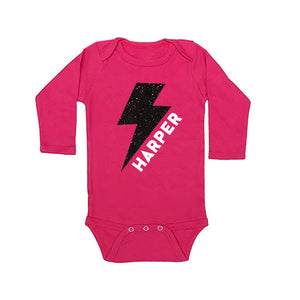 Personalized Lighting Bolt Glitter Onesie - Thunderstruck