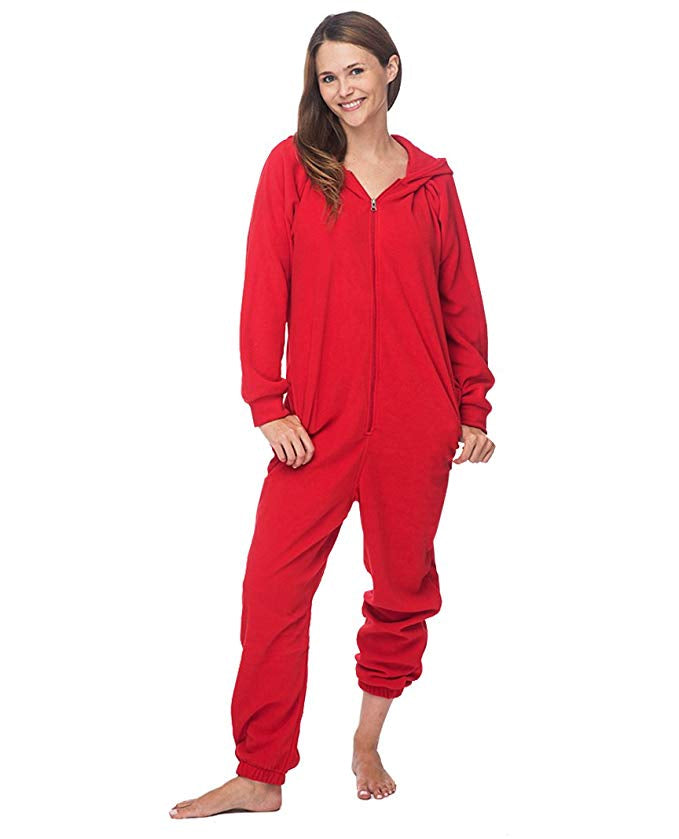 Adult Fleece Hooded Lounger Onesie with Pockets