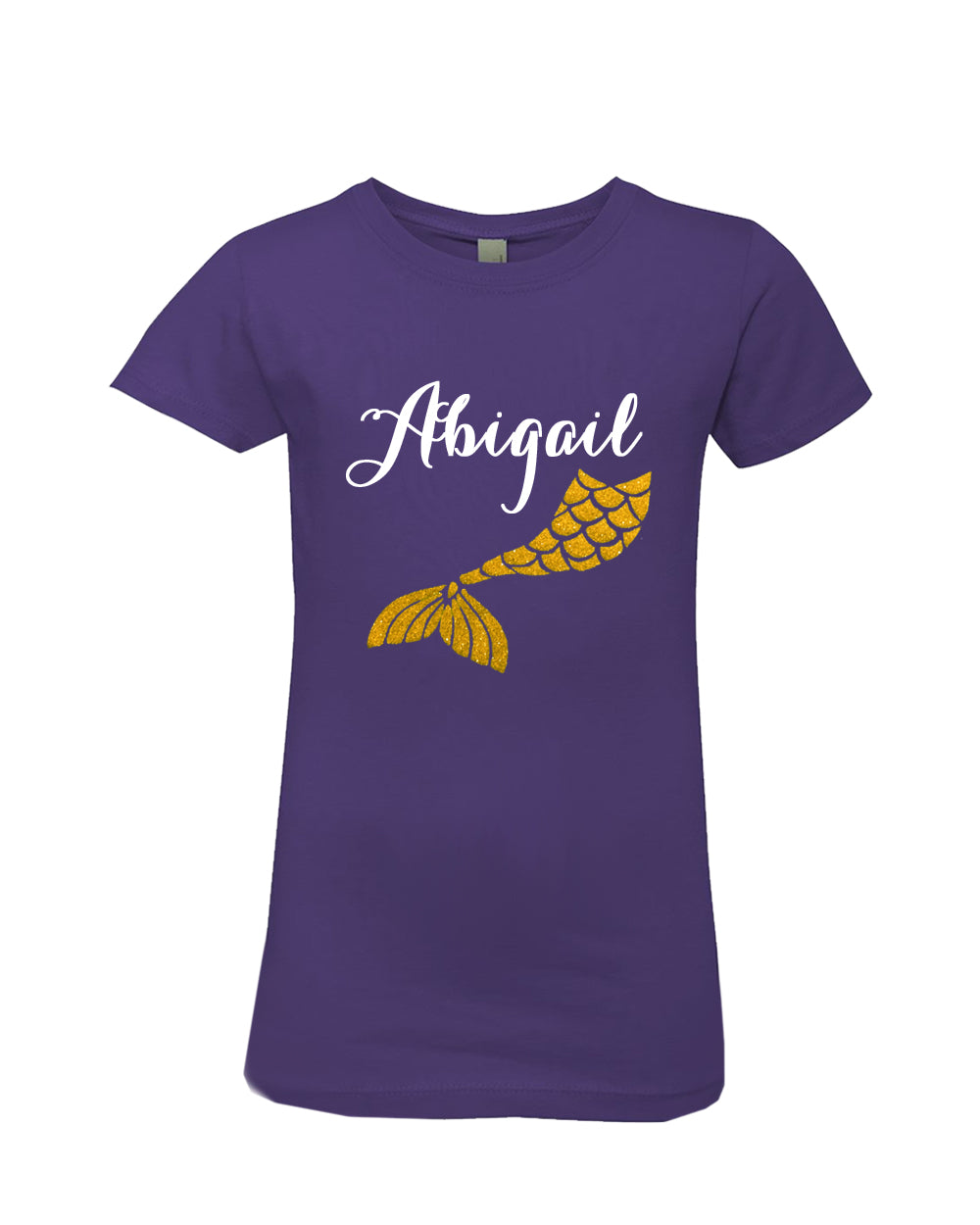 Personalized Glitter Mermaid Girls Princess T-Shirt