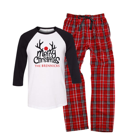 Personalized Merry Christmas Reindeer Pajama Set