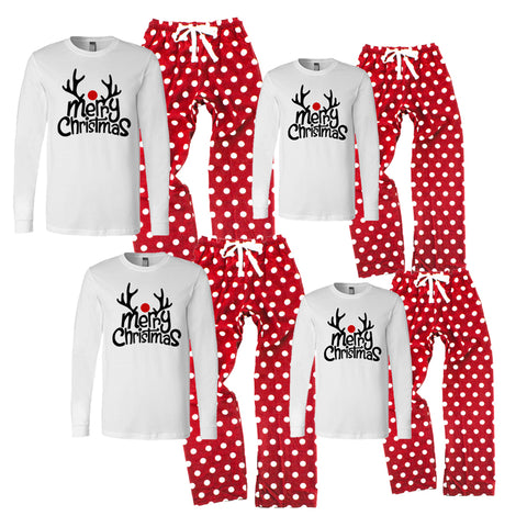 Personalized Merry Christmas Reindeer Matching Family Pajamas