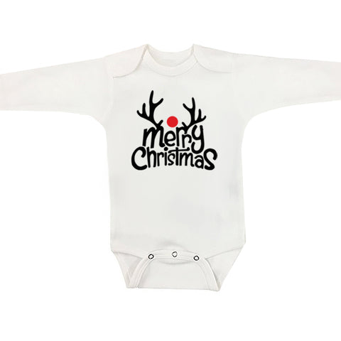 Merry Christmas Reindeer Long Sleeve Christmas Onesie
