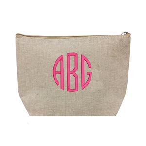 Monogrammed Jute Cosmetic Pouch