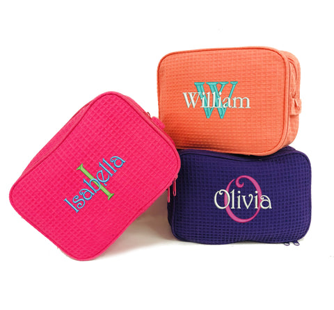 Monogrammed Waffle Cosmetic Bag with Name and Initial