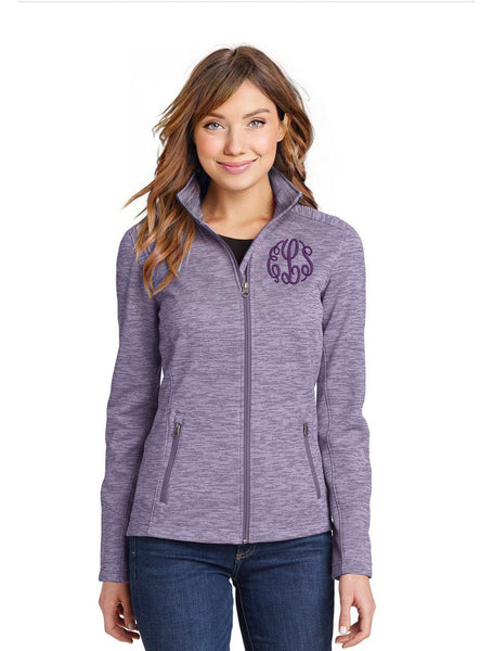 Monogrammed Modern Stripe Fleece Jacket - Ladies