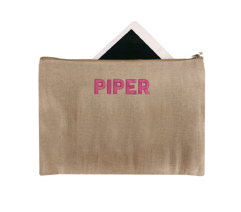 Personalized Jute Zipper Pouch