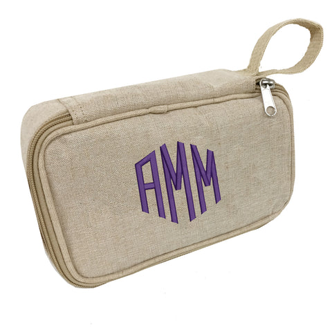 Monogrammed Jute Travel Toiletry Kit