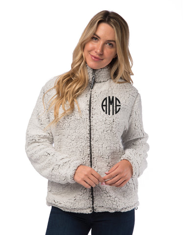 Monogrammed Sherpa Full Zip Jacket