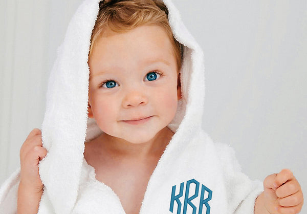Monogrammed Kids Terry Cloth Hooded Robe - 3 Initials