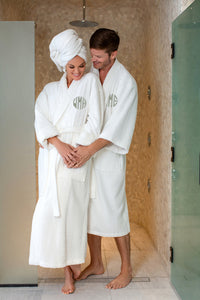Monogrammed Terry Cloth Spa Robe with Shawl Collar