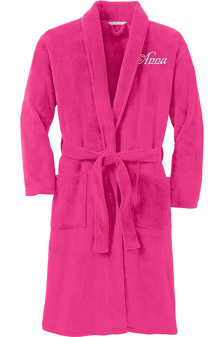 Plush Microfleece Shawl Collar Robe with Name on Front and Title on Back