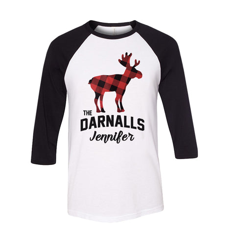Personalized Plaid Christmas Moose Raglan - White/Black