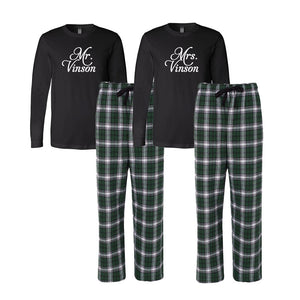 Personalized Mr. and Mrs. Flannel Pajama Set - Black and Hunter Green