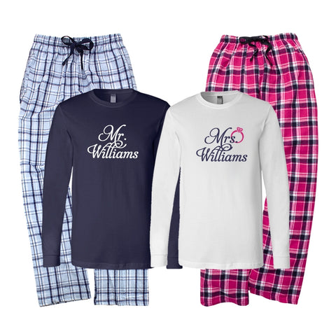 Personalized Mr. and Mrs. Bridal Pajama Set