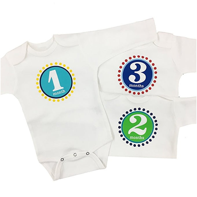 Baby Boy Month Onesies - Set of 3 Months