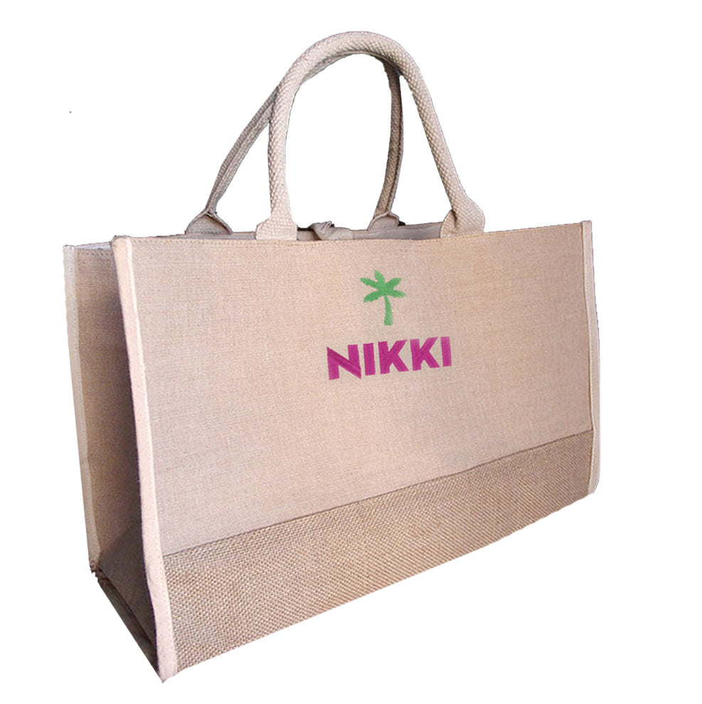 Personalized Palm Tree Cotton Jute Tote Bag