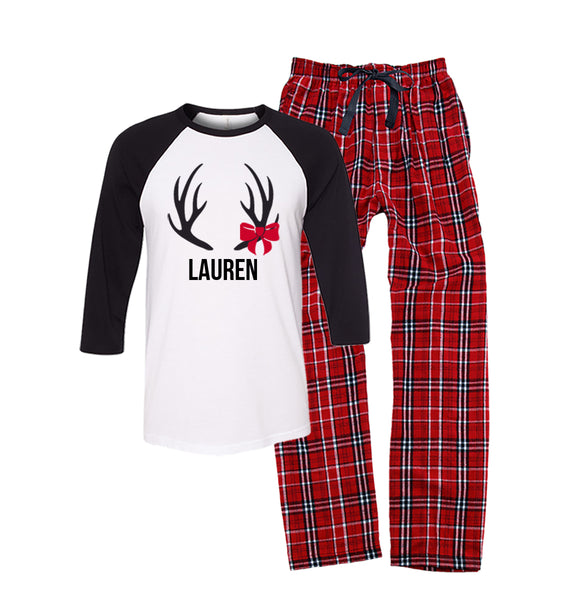 Personalized Antler Matching Family Pajamas