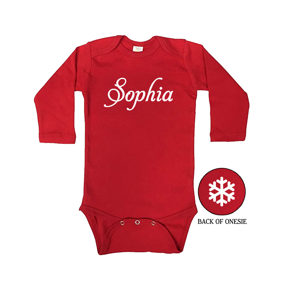 Personalized Long Sleeve Snowflake Onesie