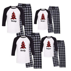 Personalized Plaid Christmas Tree Matching Family Pajama Set - Black and White