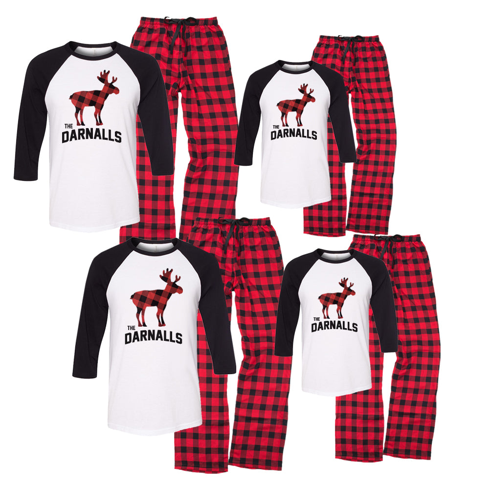 Matching Family Christmas Pajamas.Personalized Moose Family Christmas Pajama Set