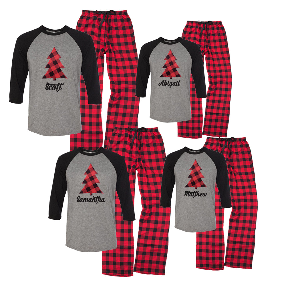 Personalized Plaid Christmas Tree Matching Family Pajama Set