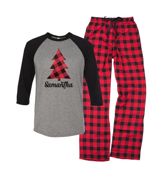 Personalized Plaid Christmas Tree Pajama Set