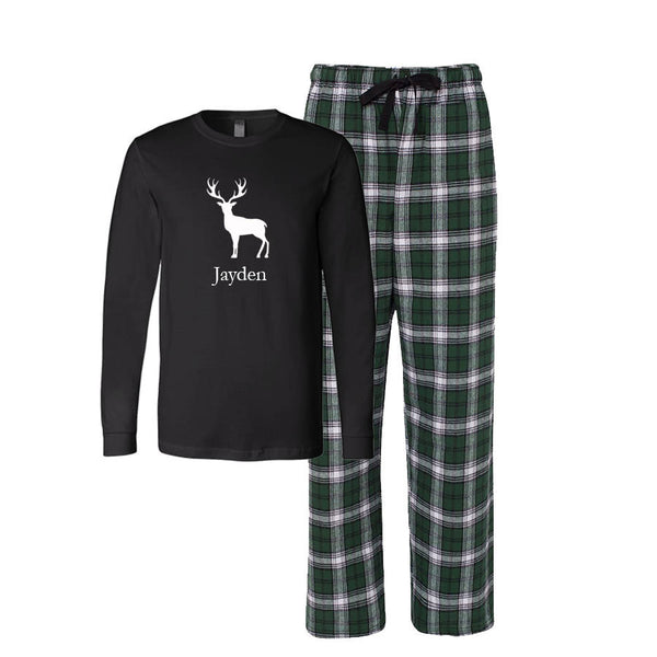 Personalized Deer Flannel Pajama Set