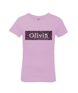 Personalized Name Rectangle Girls Princess T-Shirt