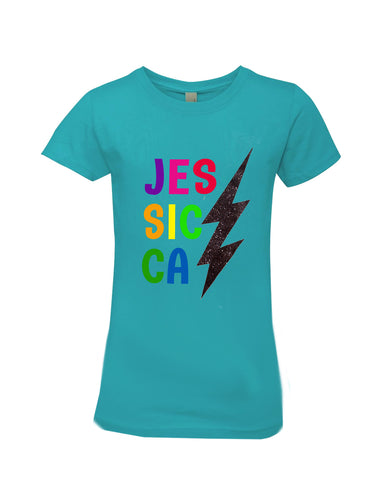 Personalized Glitter Bolt Letters T-Shirt