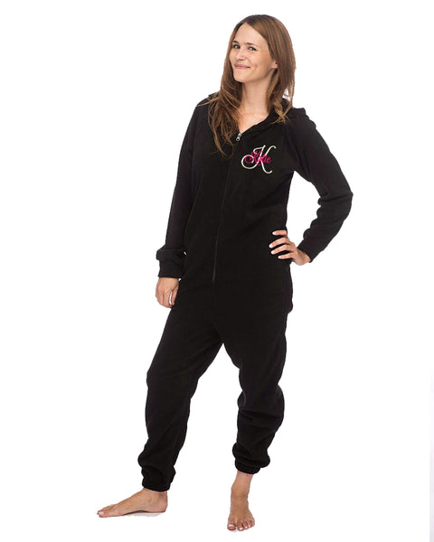 Personalized Adult Fleece Lounger Onesie - Name and Initial