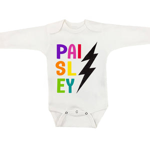 Personalized Baby Onesie - Rainbow Bolt