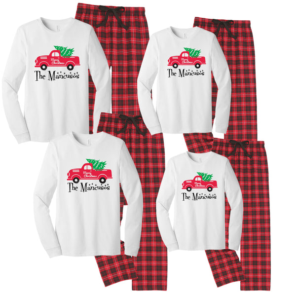 Retro Christmas Tree Truck Matching Family Pajamas