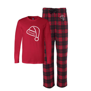 Personalized Santa Hat Flannel Pajama Set