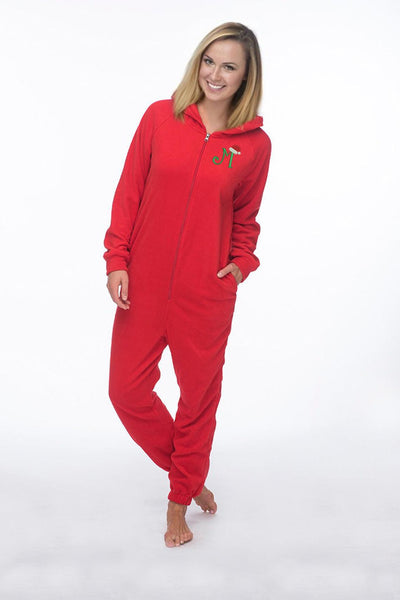 Monogrammed Santa Hat Adult Fleece Lounger Onesie