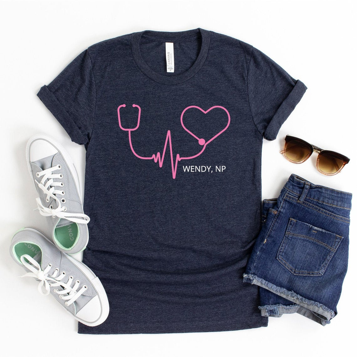 Stethoscope Heartbeat Customized Nurse T-Shirt